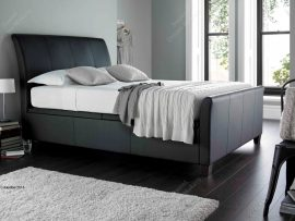 Kaydian Allendale Black Leather Super Kingsize Ottoman Bed Frame-0