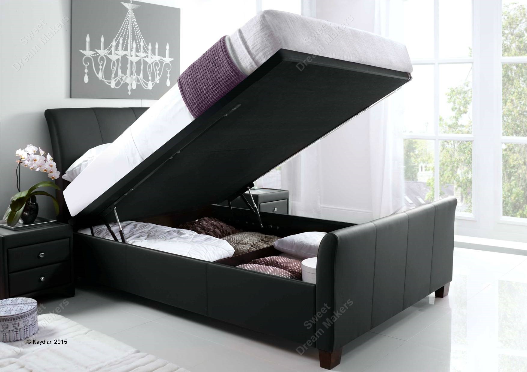 Kaydian Allendale Black Leather Super Kingsize Ottoman Bed Frame