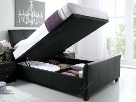 Kaydian Allendale Black Leather Kingsize Ottoman Bed Frame-0