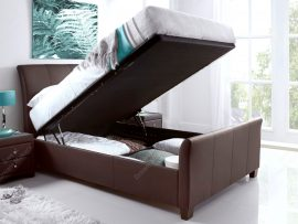Kaydian Allendale Chocolate Leather Double Ottoman Bed Frame Lift Up