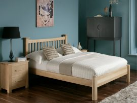 Aston American Oak Double Bed Frame-0
