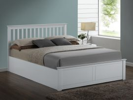 Pentre White Wooden Double Ottoman Bed Frame-1710