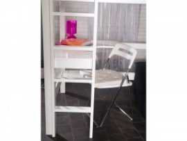 Pavo Solid White Study Bunk Bed Desk