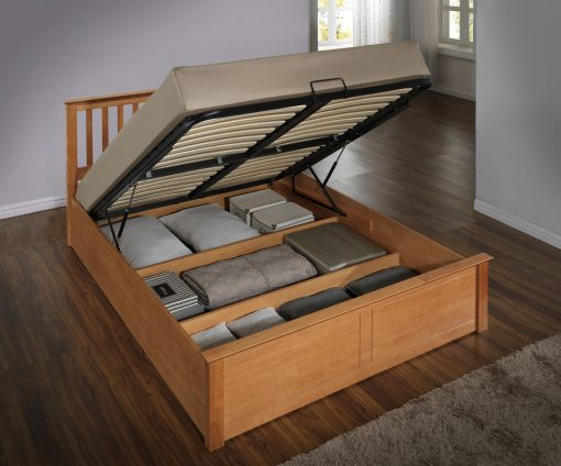 Pentre Solid Wooden Double Ottoman Bed Frame-0