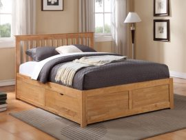Pentre Oak Hardwood Double 2 Drawer Bed Frame-1634