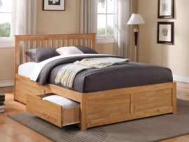 Pentre Oak Hardwood Double 2 Drawer Bed Frame-0