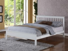 Pentre White Hardwood Double Bed Frame-0