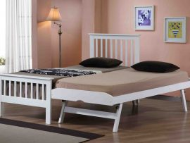 Pentre White Hardwood Single Guest Bed-0