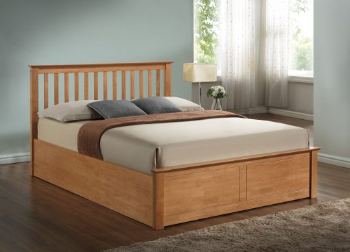 Pentre Solid Wooden Double Ottoman Bed Frame-1644