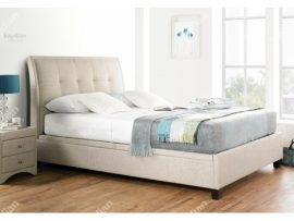 Accent Oatmeal Fabric Double Ottoman Bed Frame-2264