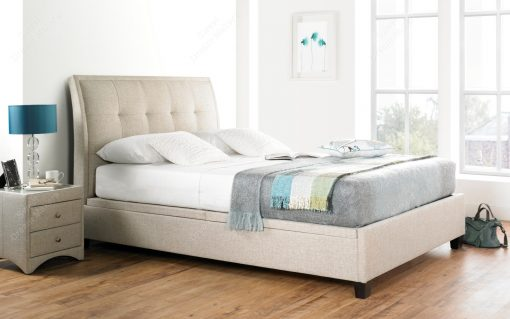 Accent Oatmeal Fabric Kingsize Ottoman Bed Frame-0