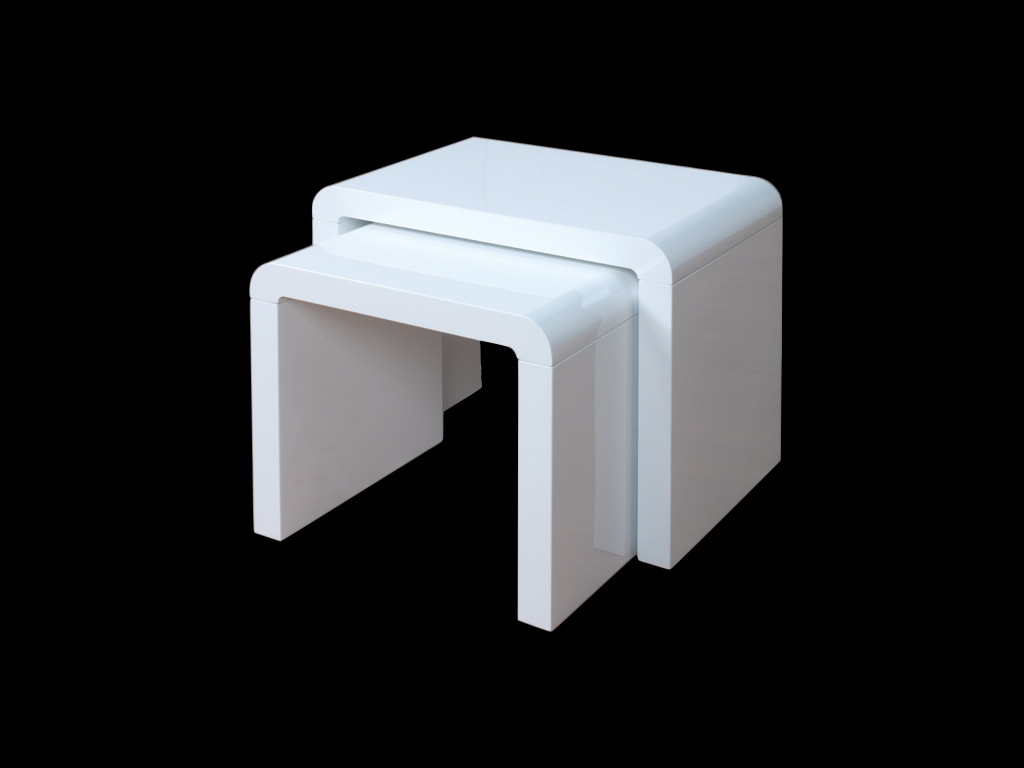 Atlantis Clarus White High Gloss Nest Of Tables Sweet