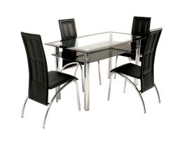 Atlantis Malmo Black High Gloss Glass Dining Set-0