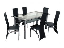 Atlantis Nouvelle Black High Gloss Glass Dining Set-0
