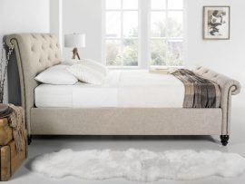 Belford Oatmeal Fabric Super Kingsize Bed Frame-0