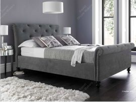 Belford Pewter Fabric Kingsize Bed Frame-0