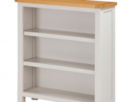Hartford Painted White Solid Oak Low Wide Bookcase-0