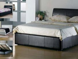 Corsica Brown Leather Kingsize Ottoman Bed Frame-0