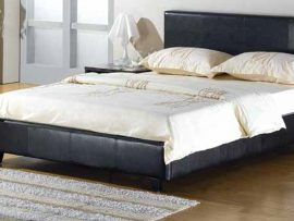 Munich Brown Leather Double Bed Frame-0