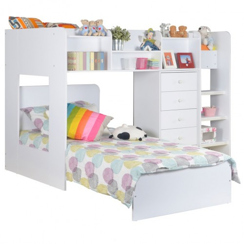 Wizard White L Shaped High Sleeper Bunk Bed Sweet Dream Makers