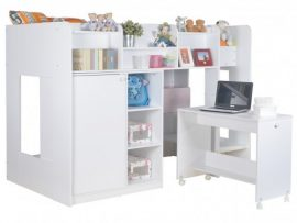 Wizard White Work Station Bunk Bed
