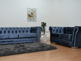 Bella Chesterfield Blue Velvet 3 Seater Sofa-0
