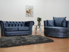 Bella Blue Velvet Cuddle Chair-0