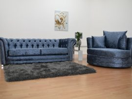 Bella Chesterfield Blue Velvet 3 Seater Sofa-4340