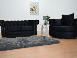 Bella Chesterfield Black Velvet 3 Seater Sofa-4350