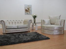 Bella Chesterfield Cream Velvet 3 Seater Sofa-4354