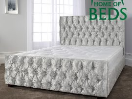 Home Of Beds Elizabeth Velvet Kingsize Fabric Bed Frame Main