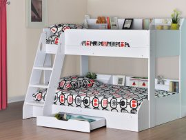 Flair Furniture Flick White Triple Storage Bunk Bed