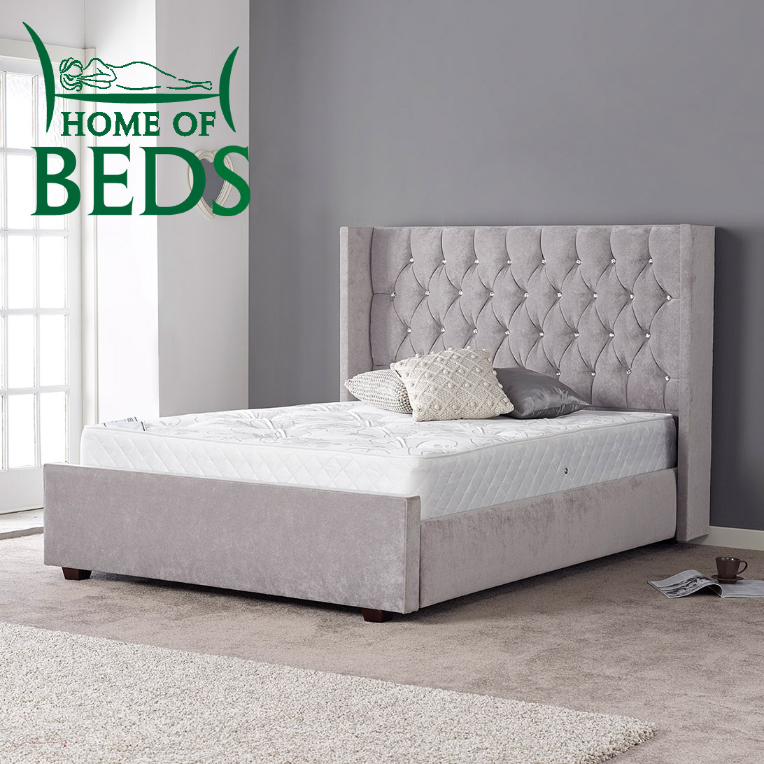 Gabriella Grey Fabric Designer Double Bed Frame Sweet