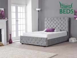 Home Of Beds Hannah Naples Velvet Single Bed Frame