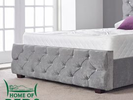 Home Of Beds Hannah Naples Velvet Super Kingsize Bed Frame Footboard