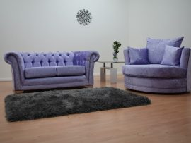 Bella Lavender Velvet Cuddle Chair-0