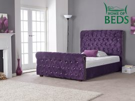Louisa Aubergine Double Bed Frame-0
