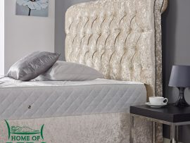 Home Of Beds Louisa Cream Kingsize Bed Frame Headboard