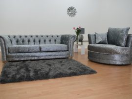 Bella Chesterfield Silver Velvet 3 Seater Sofa-4365