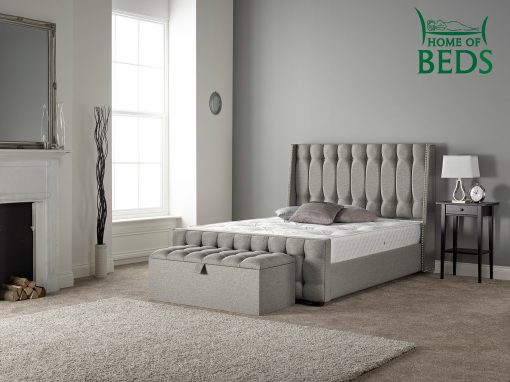 Home Of Beds Venice Chrome Fabric Kingsize Fabric Bed Frame 7