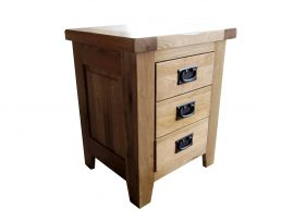 Barcelona 3 Drawer Solid Oak Bedside Cabinet