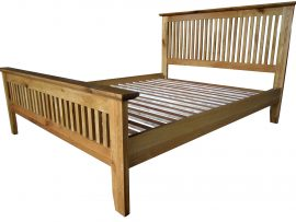 Barcelona Solid Oak Double Bed Frame