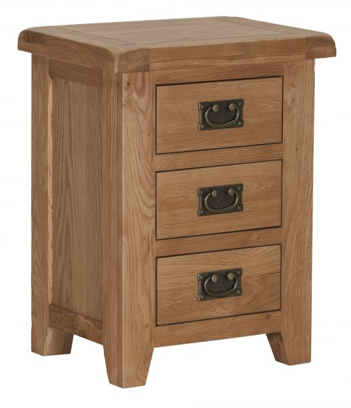 Miami Solid Oak 3 Drawer Nightstand