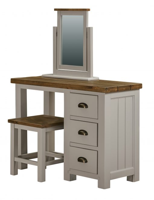 Vienna White Oak Dressing Table + Stool + Mirror