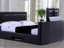 Civic Faux Leather Kingsize TV Bed Frame
