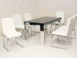 Deena White Chrome Dining Set