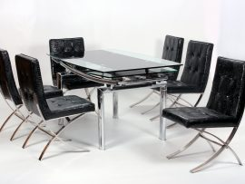 Luxor Black Chrome 6 Seater Dining Set