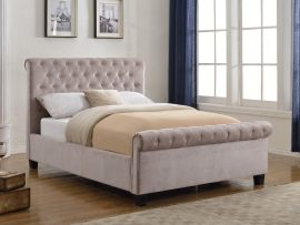 Flair Furnishings Lola Mink Upholstered Double Bed Frame