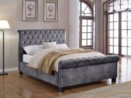 Flair Furnishings Lola Silver Upholstered Double Bed Frame