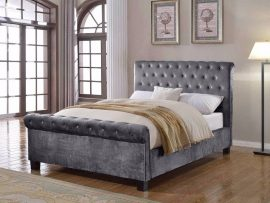 Flair Furnishings Lola Silver Fabric Double Bed Frame